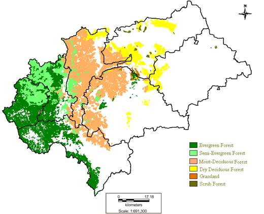 Land Use Dynamics And Floral Diversity Of Southern Montane Wet - Chikmagalur map