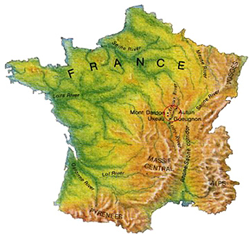 Map Of France With Mountains.Remote Sensing Ces